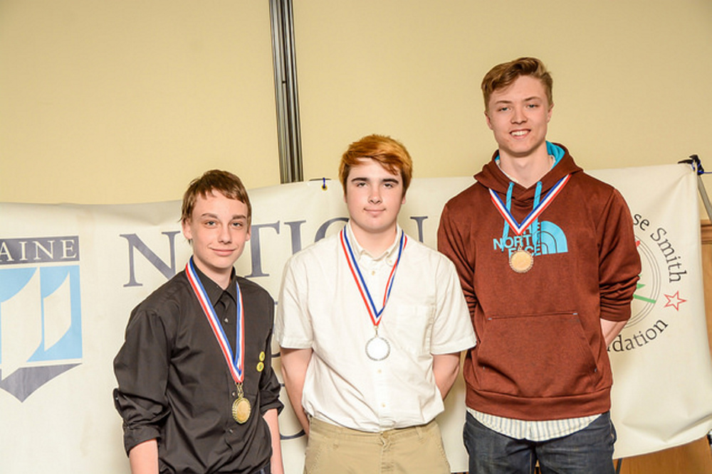 Maine National History Day winners in the Senior Individual Documentary category from left are Jacob Grover, from Buckfield Junior-Senior High School, placed first; Emmet Levasseur, from Noble High School, placed second; and William Green, from Maranacook Community High School, placed third.