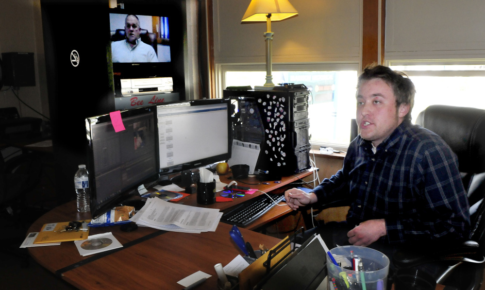 John Harlow, in his office Wednesday where he edits shows for Somerset Community TV 11, tells how when he first started at the station the programming was played off DVDs. Now broadcast material is downloaded on to a server.