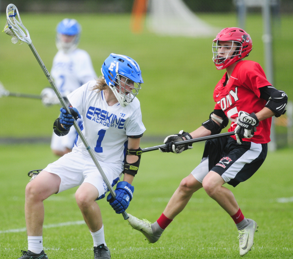 Erskine's Cameron Tyler, left, tries to get past Cony defender Jakob Arbour on Tuesday in South China.
