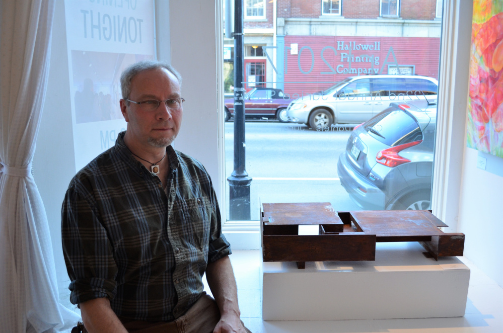 Juror's Choice was awarded to Oliver Solmitz, of Bethel, for his untitled sculpture in welded steel and paint.