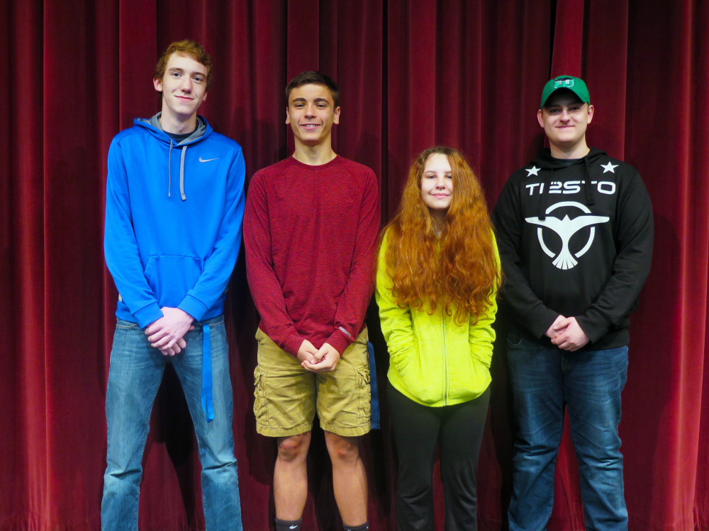 Messalonskee High School's May Students of the Month, from left, are Brayden Paine, Chase Warren, Lillie Fortier and Jayden Gurney.
