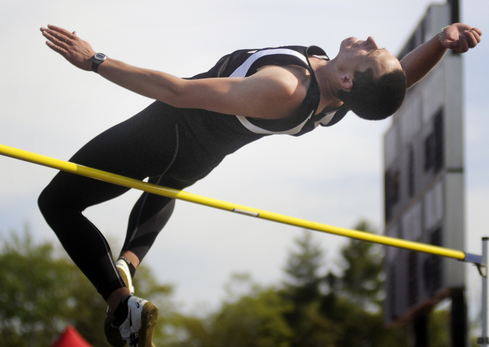 Hall-Dale's Jon Whitcomb clears the bar in the high jump during last season's Mountain Valley Conference track and field championships in Lisbon.