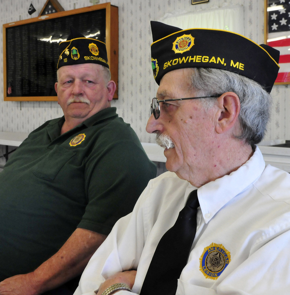American Legion Post 16 Adjutant Bob Mercer, right, and Commander Steven Spaulding speak about the need to recruit new members at the Legion hall in Skowhegan on Sunday.