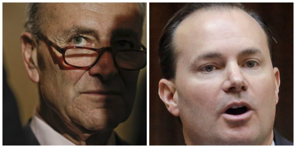 Senate Minority Leader Charles Schumer of New York, left, and Rep. Mike Lee, R-Utah, are in agreement that recorded conversations between Trump and Comey should be turned over to Congress.