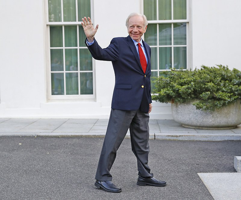 Former Connecticut Sen. Joe Lieberman leaves the West Wing of the White House on May 17, 2017, after meeting with President Trump over the FBI director's post.