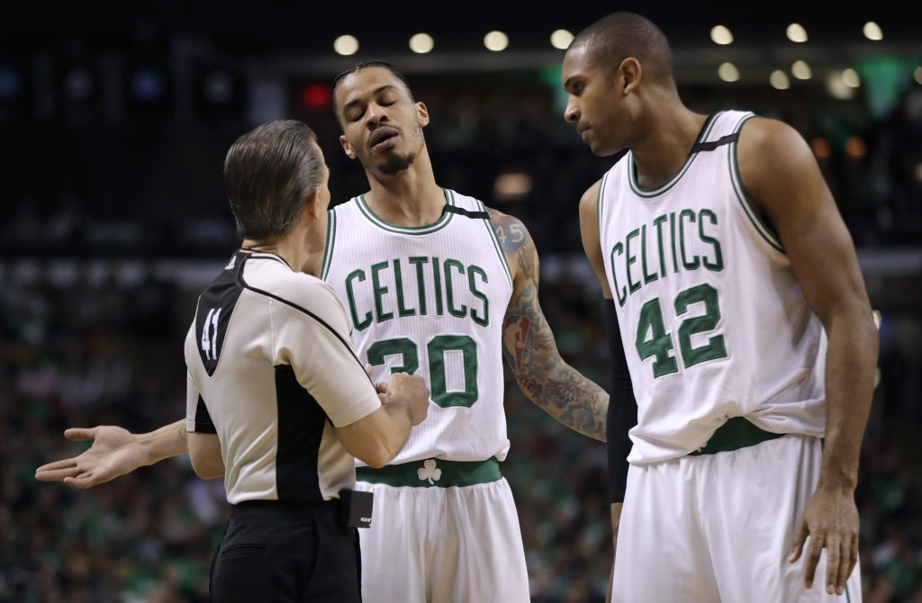 Celtics forward Gerald Green, 30, and center Al Horford appeal to referee Ken Mauer during the first half Thursday night.