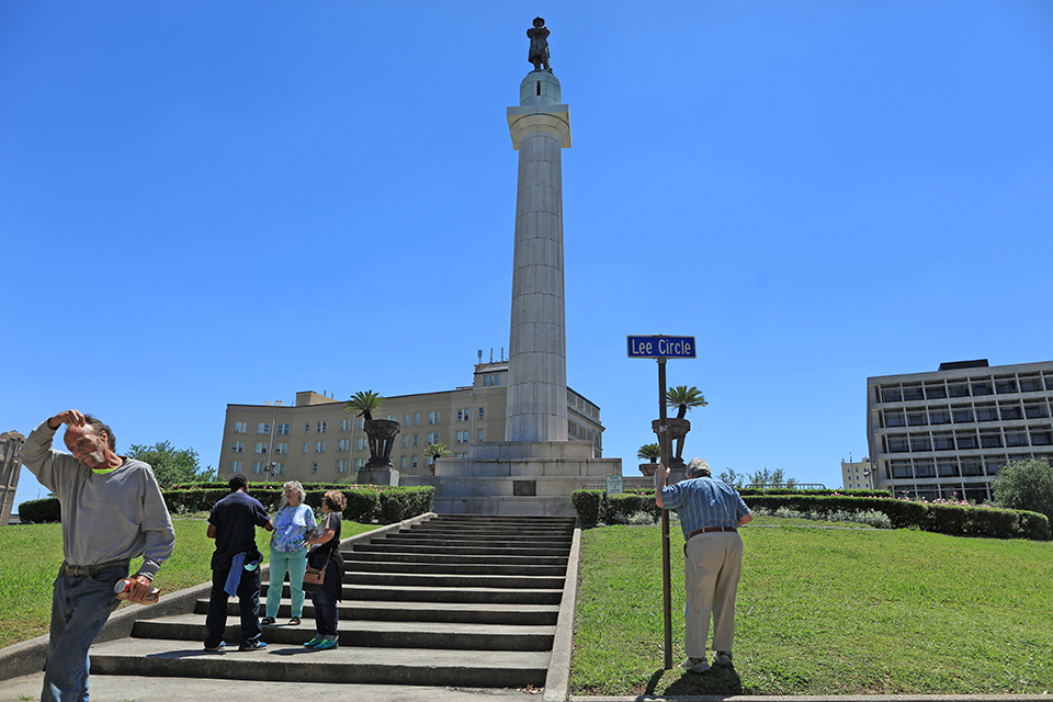 The Robert E. Lee Monument, located in Lee Circle in New Orleans, is the last of four  Confederate statues to be removed in New Orleans.