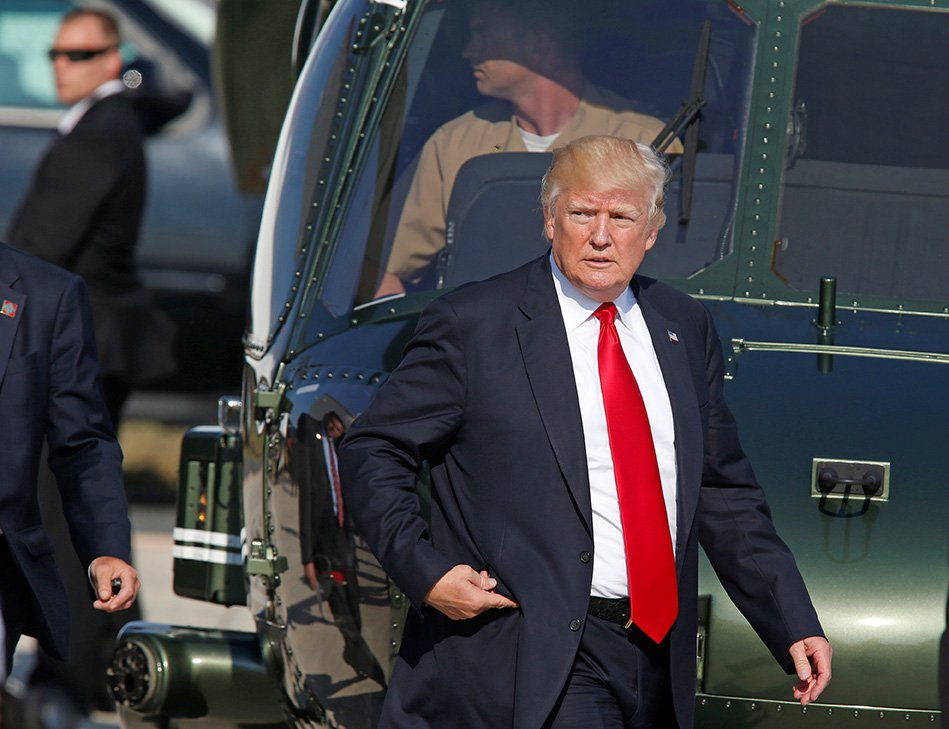 President Trump arrives at Naval Air Station Sigonella after the G7 Summit in Sicily last week.