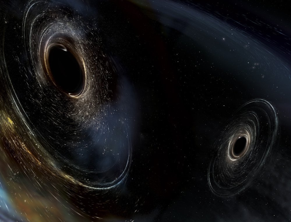 An artist's conception shows two merging black holes similar to those detected by LIGO.