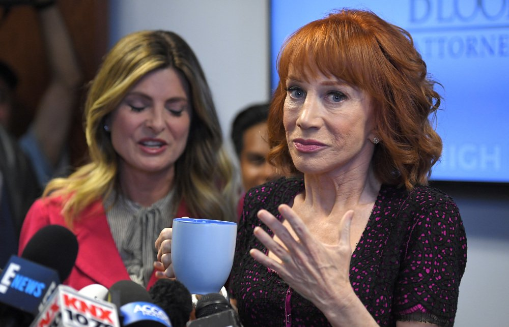 Comedian Kathy Griffin, right, speaks along with her attorney, Lisa Bloom, during a news conference Friday in Los Angeles to discuss the backlash from Griffin's photo and video displaying a likeness of President Trump's severed head.
