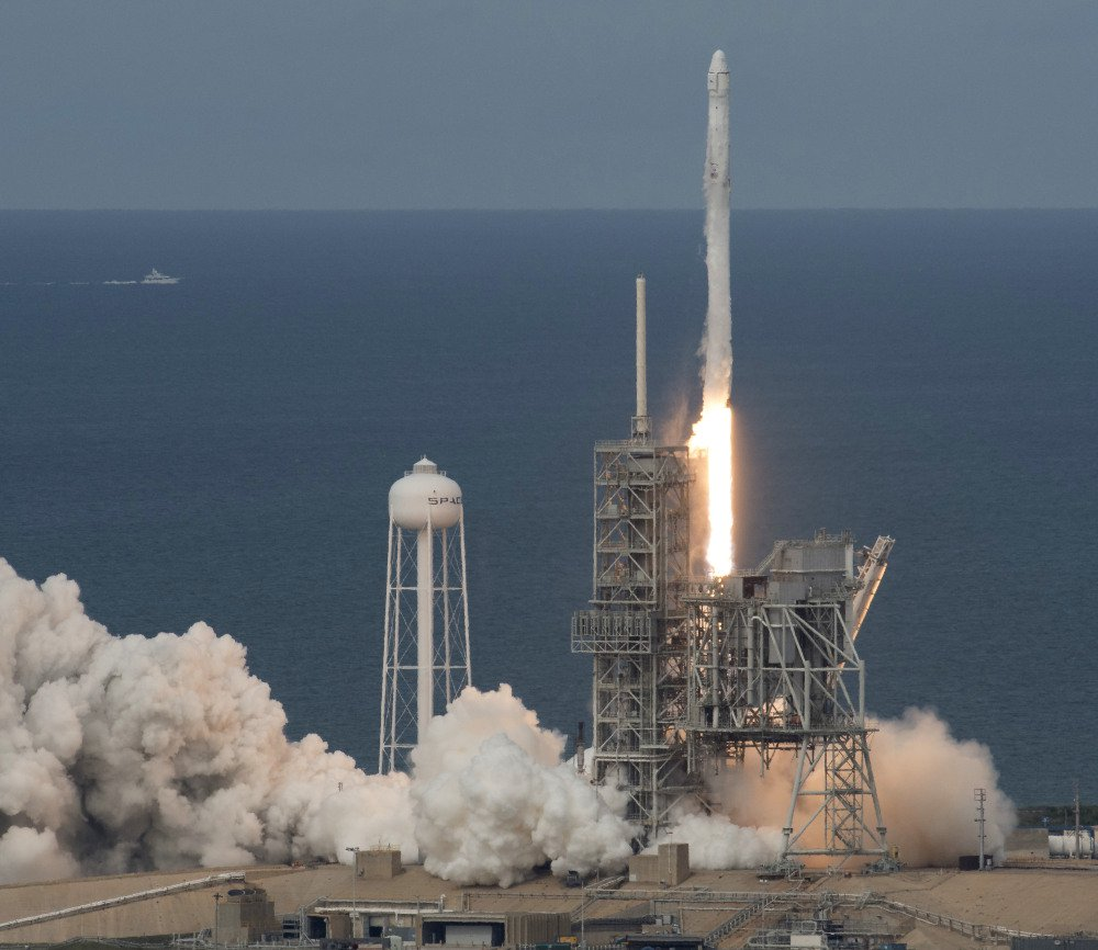 The SpaceX Falcon 9 rocket, with the Dragon spacecraft onboard, launches from pad 39A at NASA's Kennedy Space Center in Cape Canaveral, Fla., on Saturday.