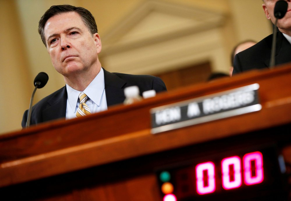 FBI Director James Comey testifies before the House Intelligence Committee hearing into alleged Russian meddling in the 2016  election in March. Reuters/Joshua Roberts