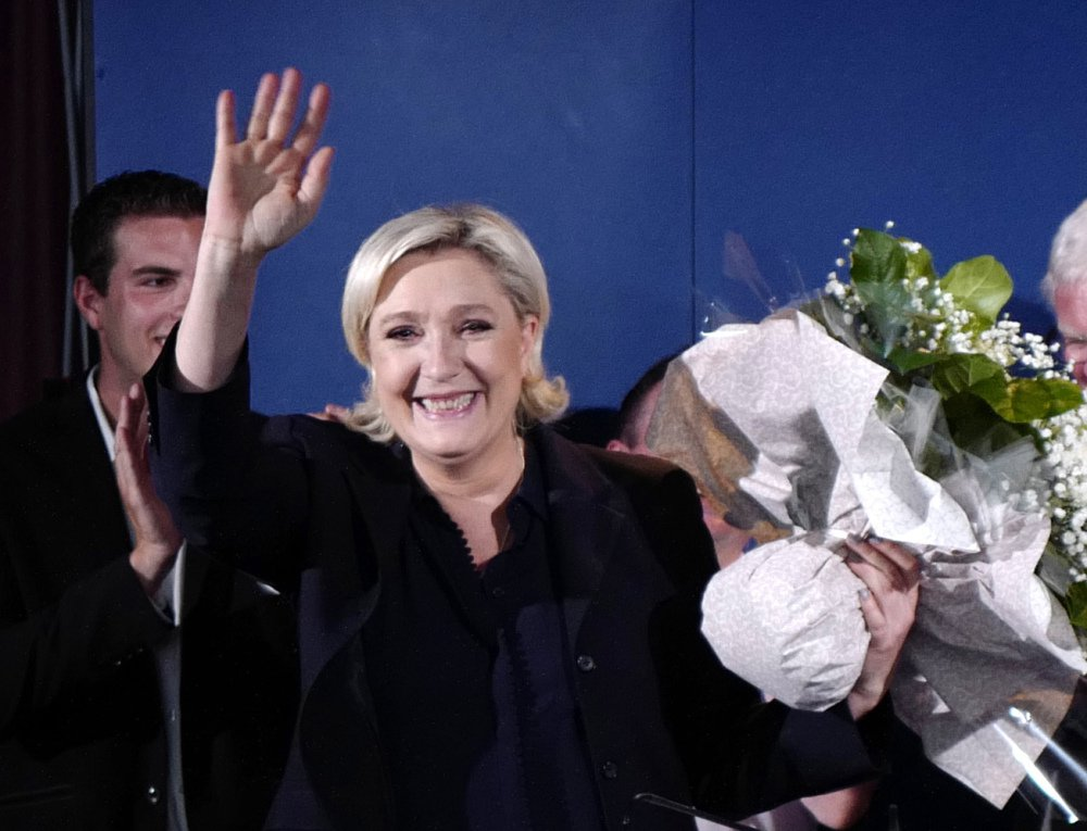 French far-right candidate Marine Le Pen, shown Sunday, won a massive victory in her northern bastion of Henin-Beaumont.