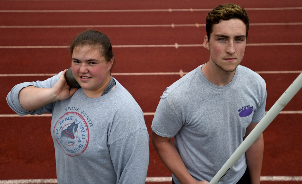 Waterville throwers Sarah Cox, left, and Zack Smith have their sights set on big performances at the Class B state track and field championships in Yarmouth on Saturday.
