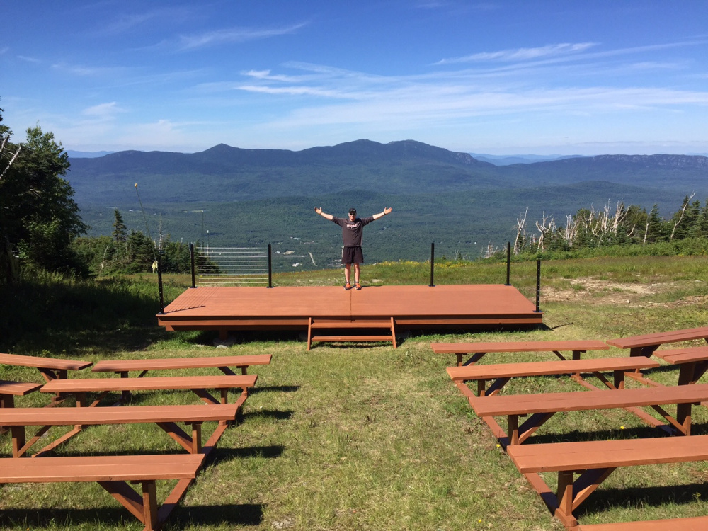 Contributed photo US Ski Teamer Sam Morse reveling in the beauty of the new Amphitheater. He and other volunteers from Sugarloaf Christian Ministry constructed The AMP in partnership with Sugarloaf.