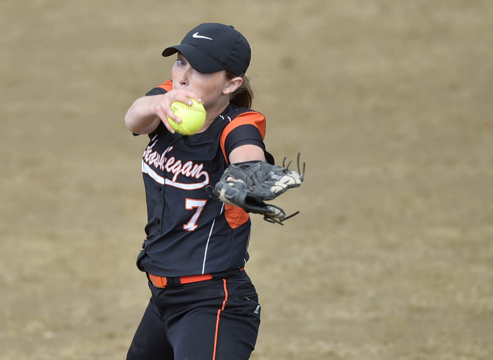 Skowhegan pitcher Ashley Alward delivers a pitch to an Edward Little High School batter during the Kennebec Valley Athletic Conference Class A title game Friday.
