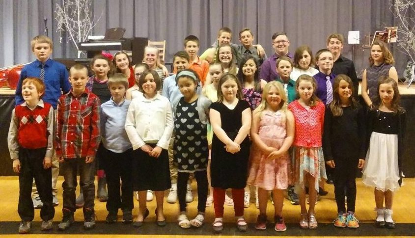 The annual Forest Hills music recital on May 8 featured 31 students. In front, from left are Jacob Bennett, Sean Mulhall, Matthew Hall, Melynda Worster, Kaira Veilleux, Nakia Boyle, Macie Baker, Elexus Bauer-Pelletier, Morgan Petrucci and Emma Vining. In the middle, from left are Hiram Logston, Grace Allen, Carli Frigon, Mason Desjardins, Aurelie Poulin, Sydney Rodriguez, Tommy Sylvester and Denali Taylor. In back, from left are Madison Rohr, Hailey Welch, Jackman Daigle, Emma Lacasse, Cooper Daigle, Cody Oliver, Sebastian Paradise, Autumn Pacheco, Ian West and Hannah Harmon.