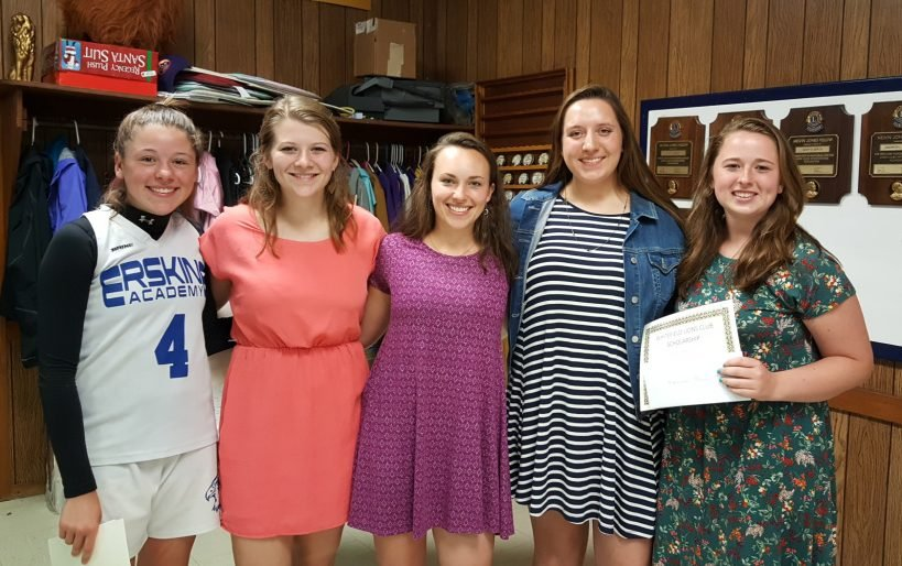 Erskine Academy students/scholarship winners, from left, are Abigail Haskell, Audrey Jordan, Keeley Gomes, Allie Bonsant and Hannah Burns.