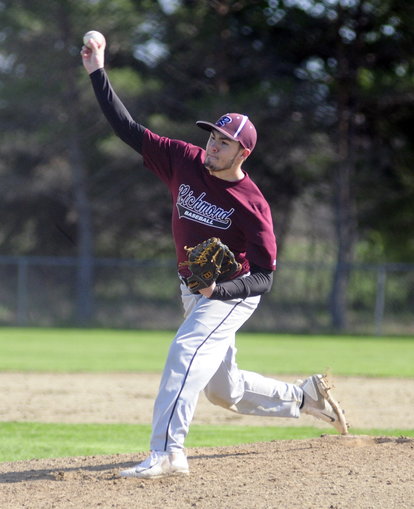 Richmond's Matt Rines throws a pitch against Valley in an East/West Conference game earlier this season in Richmond.