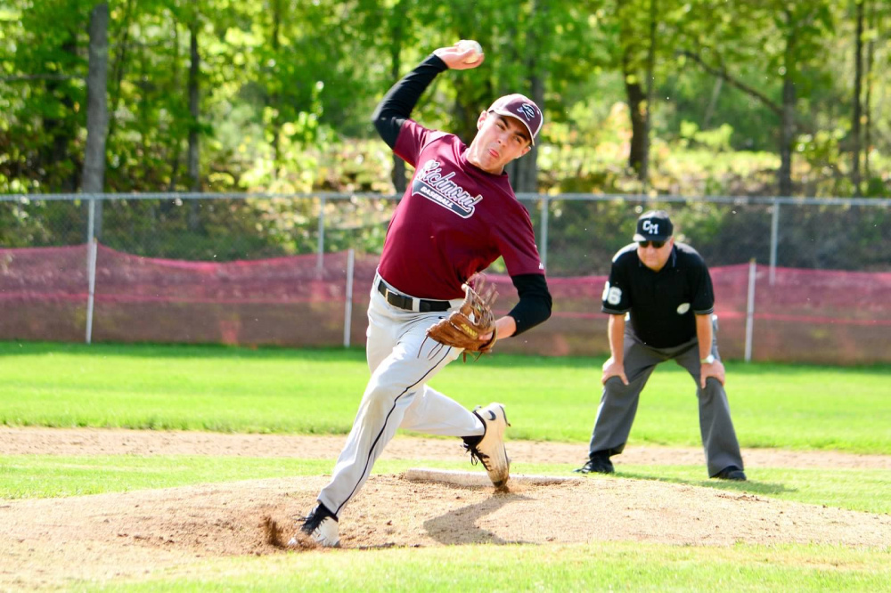 Richmond senior Zach Small delivers a pitch during a game against Buckfield this season.