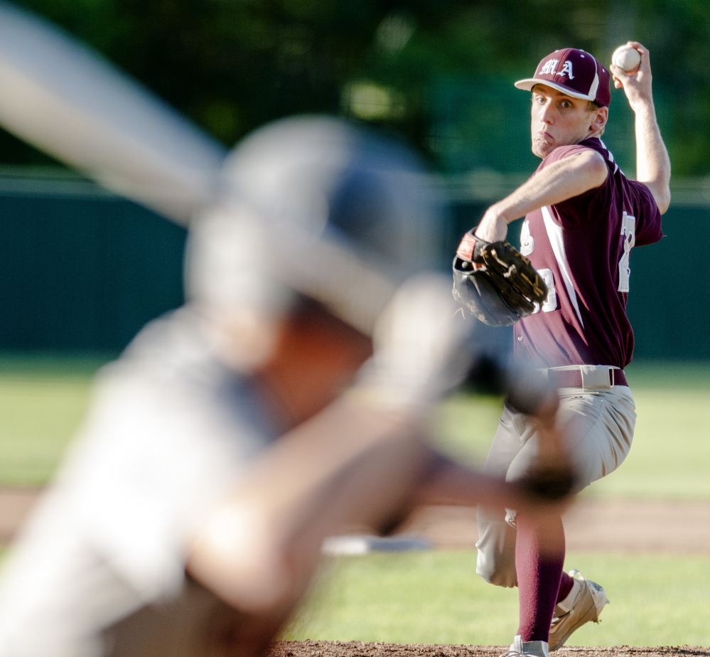 Monmouth pitcher Hunter Richardson throws during the Class C South championship game against Lisbon on Wednesday at St. Joseph's College in Standish.