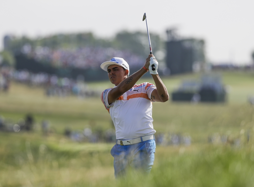 Rickie Fowler hits on the 12th hole during the first round of the U.S. Open on Thursday at Erin Hills in Erin, Wisconsin.
