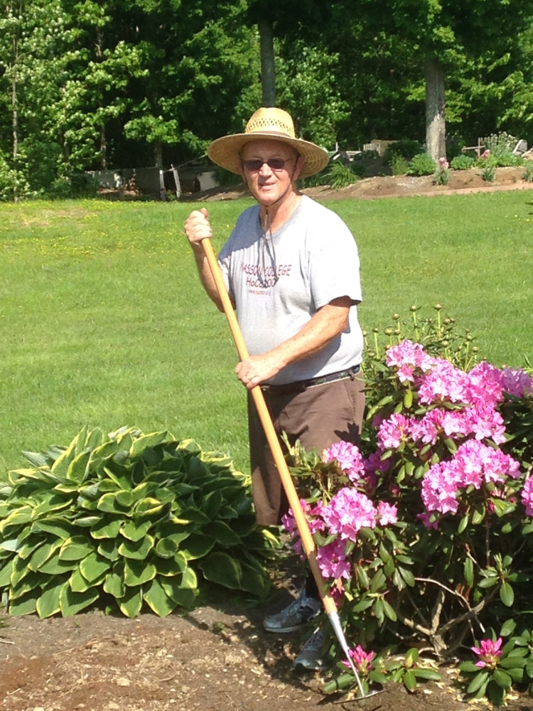 Norm Davis prepares for the West Gardiner Gardeners Garden Tour and Plant Sale. Davis' philosophy is,