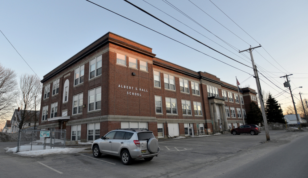 The Albert S. Hall School on Pleasant Street in Waterville after a day of school on March 2. A committee is being formed to look into the possibility of closing the school because of a decline in student population and a rise in costs.