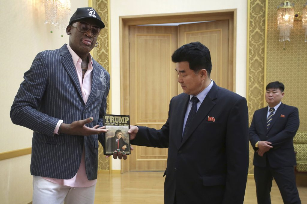 Former NBA star Dennis Rodman presents Donald Trump's book