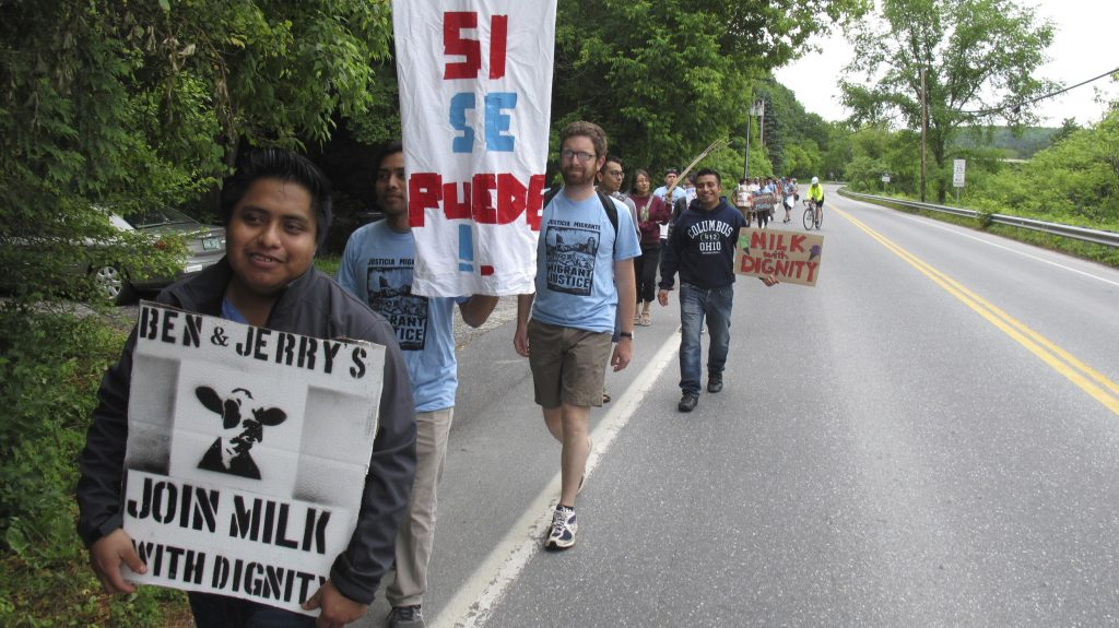 Protesters march Saturday in Montpelier, Vt.
