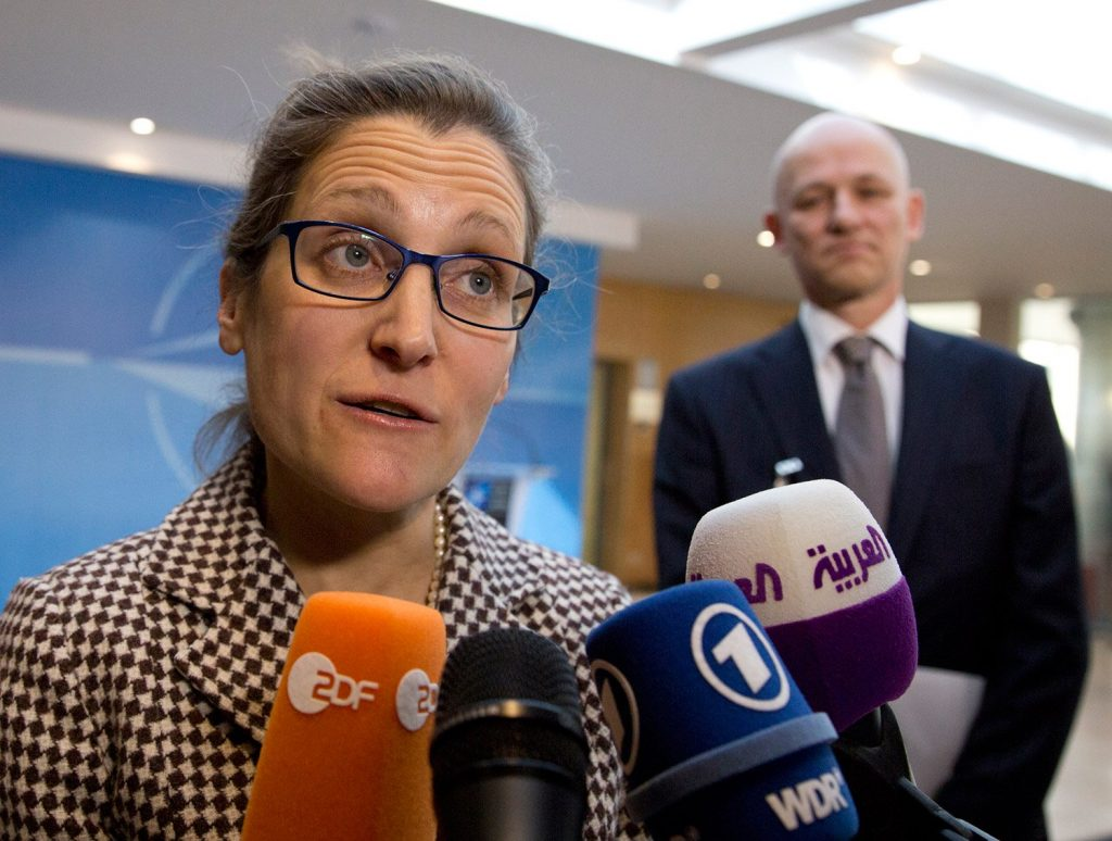 Canadian Foreign Minister Chrystia Freeland, shown in March, told Canada's House of Commons on Tuesday that Washington has decided to forfeit its position of leadership on many issues, forcing Canada to invest more in its own armed forces to defend liberal democracy.