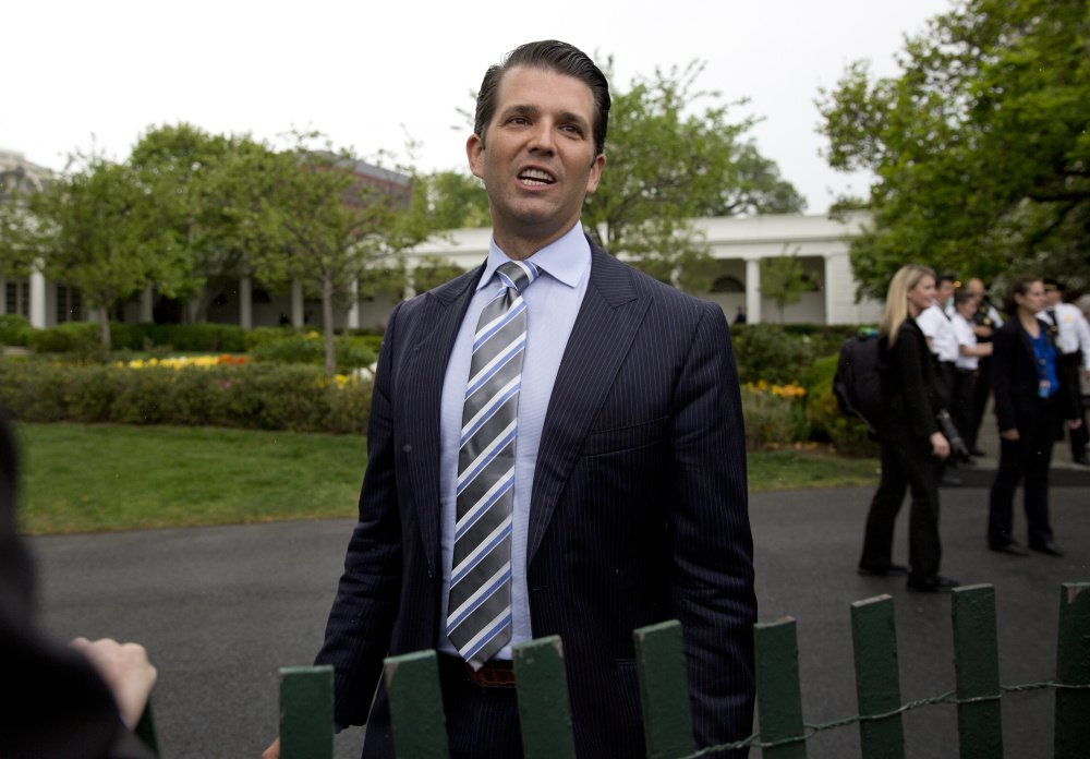 Donald Trump Jr. speaks to media during the annual White House Easter Egg Roll on the South Lawn of the White House in April.