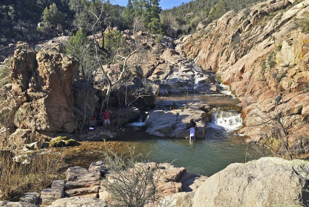 On Saturday a flash flood through this area of Ellison Creek, a popular area in Tonto National Forest near Payson, Ariz., shown in March, swept nine people to their deaths.