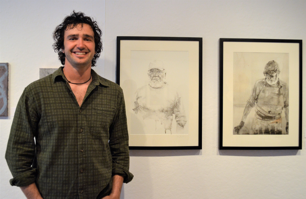 Abe Goodale, of Camden, tied with Liza Stratton, of South Portland for the People's Choice Award at the end of Art2017, the Harlow Gallery's 22nd annual juried show, for his watercolor