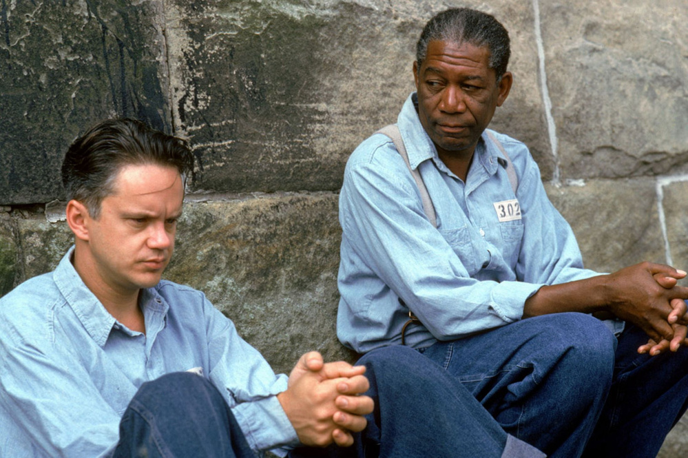 Tim Robbins, left, and Morgan Freeman in