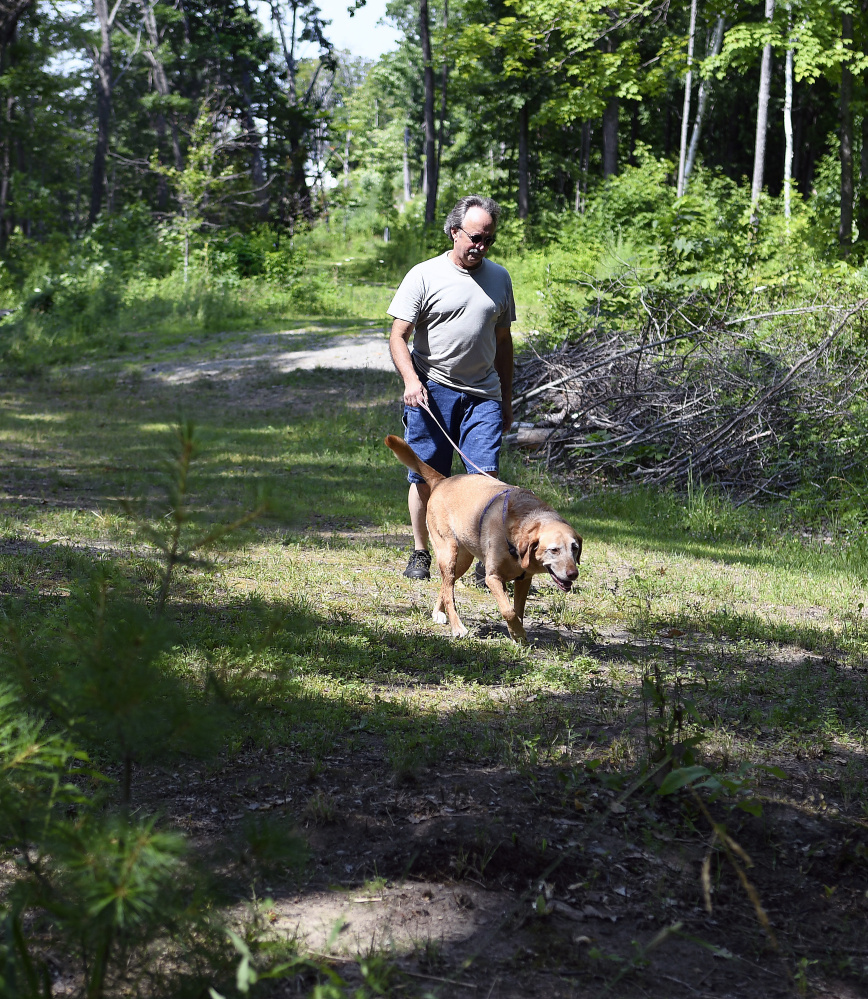 Mike Firlotte walks his dog on the Harrison Avenue Nature Trail near his home in Gardiner on Monday.