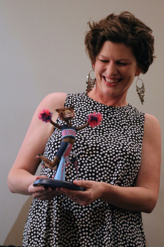 After 15 years directing the Maine International Film Festival, Shannon Haines was recognized with a moose award made by her mother, Laurel McLeod, at this year's closing. The full-time president and CEO of Waterville Creates! is stepping down from the film festival position.