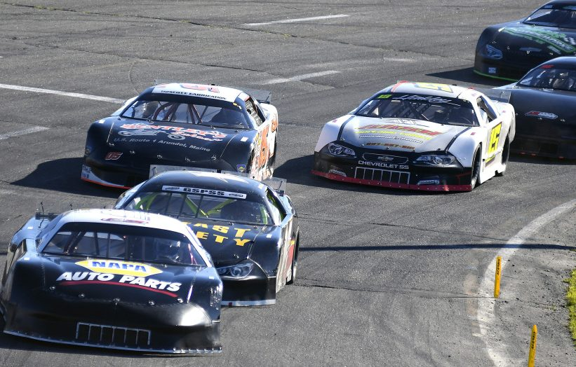 Garrett Hall leads the pack during the Boss Hogg 150 on Sunday at Wiscasset Speedway.
