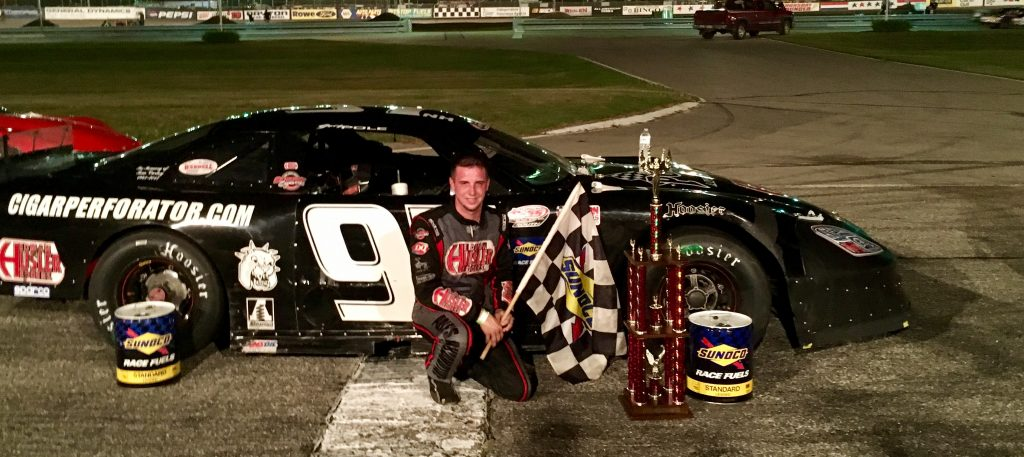 Joey Polewarczyk Jr. of Hudson, New Hampshire, won the PASS 150 at Beech Ridge Motor Speedway in Scarborough on Saturday night for his first win of the season.