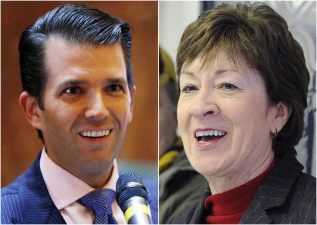 Sen. Susan Collins has called for Donald Trump Jr. to testify before the Senate Intelligence Committee about his meeting with a Russian lawyer.