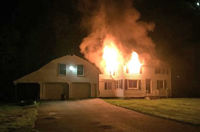 The fire Monday morning at 203 Falmouth Road in Windham.