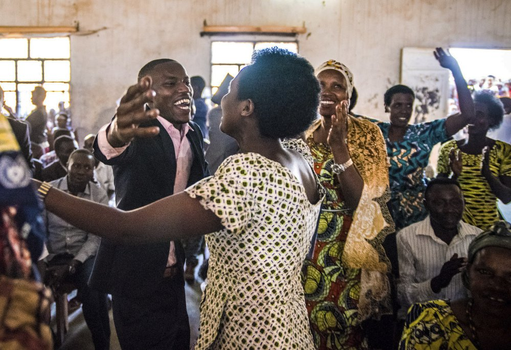 Students celebrate in June after the first class of the Southern New Hampshire University and Kepler higher education program graduated in Kiziba Refugee Camp in Kigali, Rwanda.