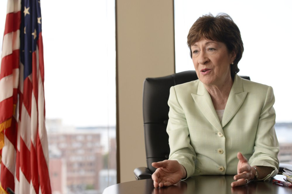 U.S. Sen. Susan Collins of Maine gives an interview in her eighth-floor Portland office on Friday.