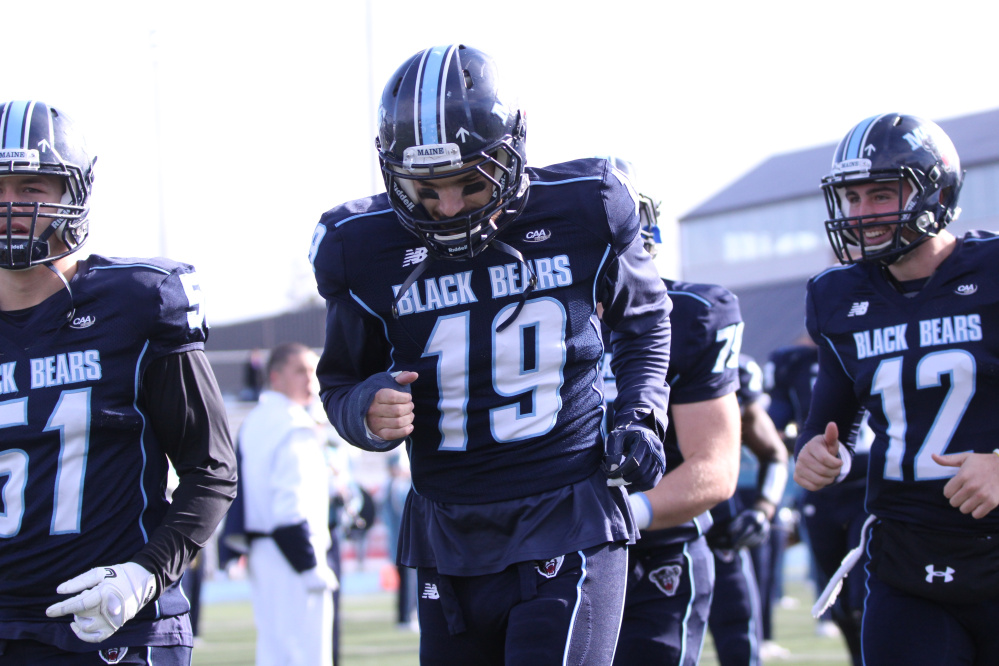 University of Maine redshirt senior Spencer Carey (19) is finally healthy after a host of nagging injuries slowed him last season. Carey, a Lawrence graduate, will help lead the special teams unit and also see time at linebacker this fall for the Black Bears.