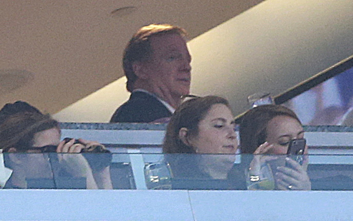 National Football League Commissioner Roger Goodell watches a preseason game between the Patriots and the Jaguars from Patriots owner Robert Kraft's box at Gillette Stadium on Thursday night in Foxborough, Massachusetts.