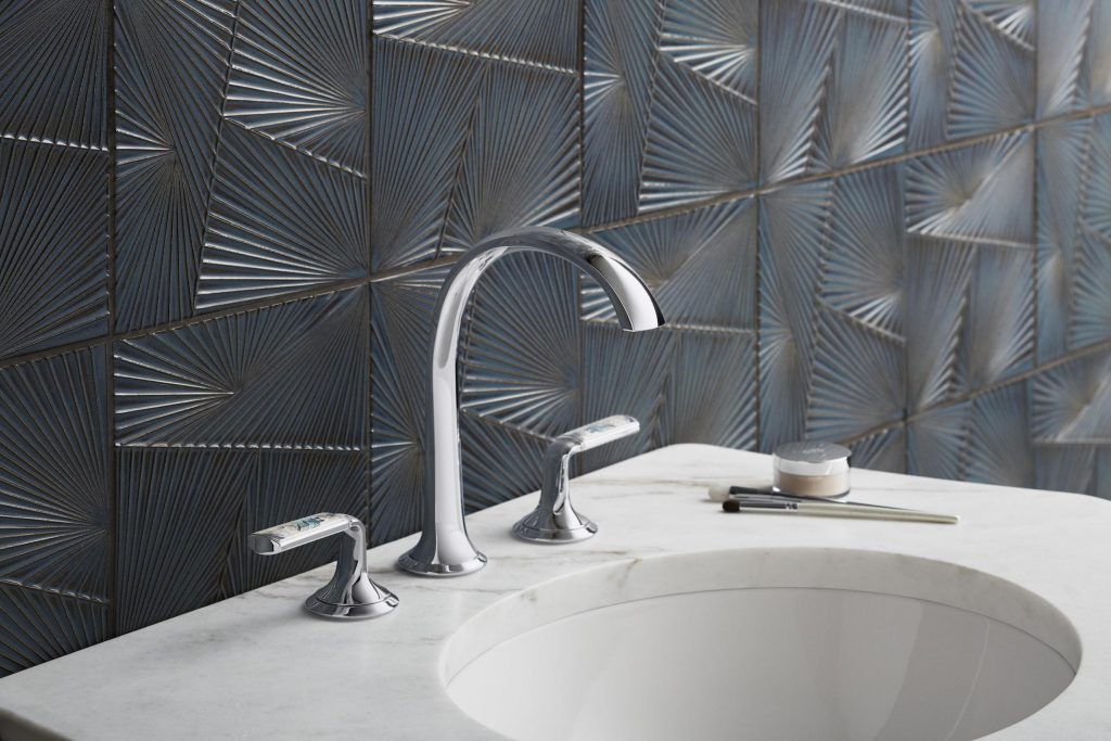 Mixing and matching materials lets you make a personal statement in any room, including the bathroom.