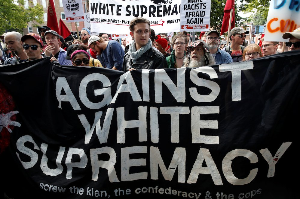 A group of counter-protesters rally against members of white nationalists in Charlottesville, Virginia on August 12, 2017.