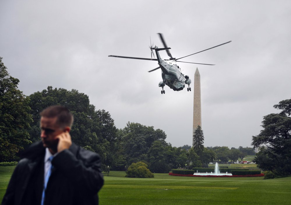 Marine One lifts off from the South Lawn of the White House in Washington.