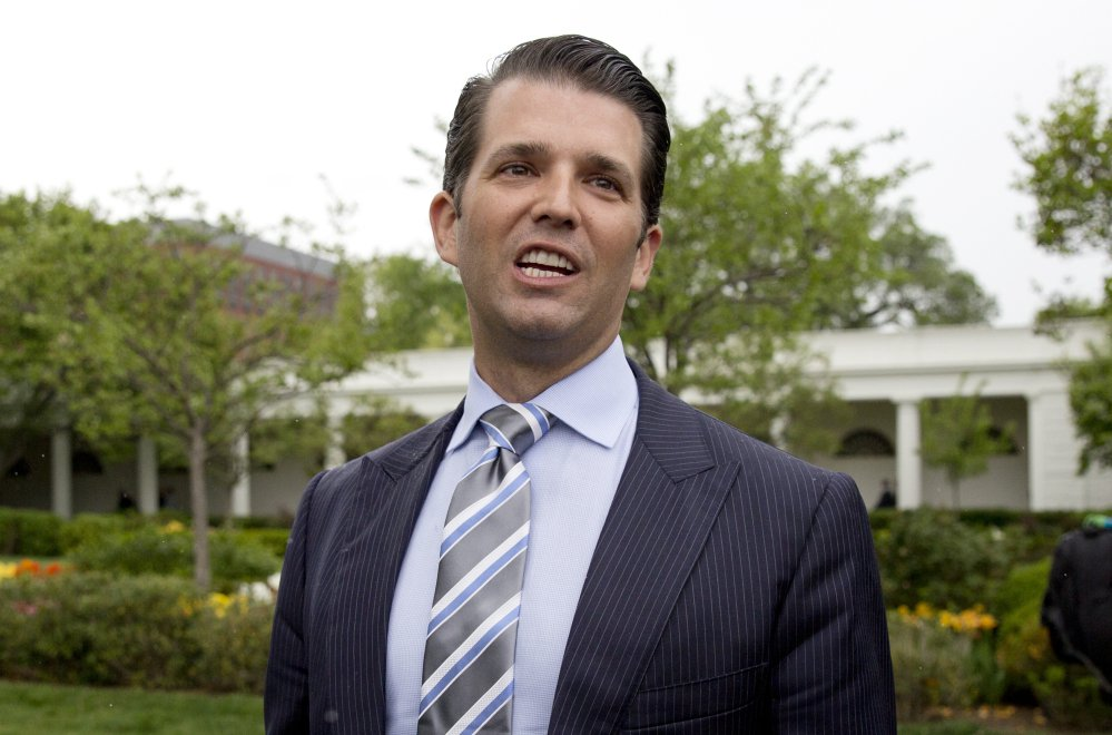 Donald Trump Jr., the son of President Trump, speaks to media on the South Lawn of the White House in Washington in April. Associated Press/Carolyn Kaster