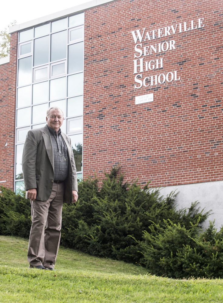 Eric Haley, superintendent of AOS 92, standing in front of Waterville Senior High School on Thursday, says he needs more information on what the state is proposing for regional service centers.